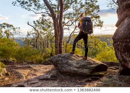 Female bushwalker with backpack walking in Australian bushland Stock photo © lovleah