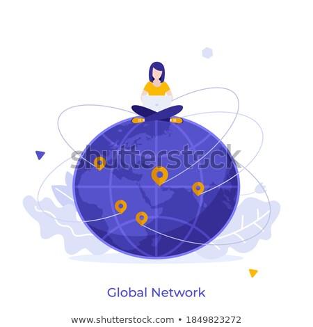 ストックフォト: Online Business Web Poster Woman Working Worldwide