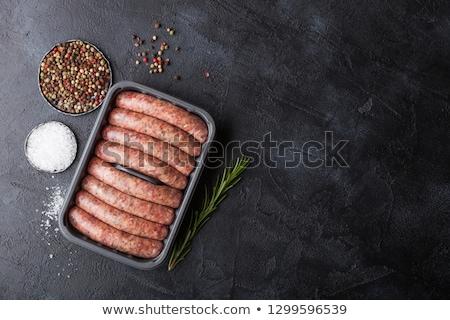 Foto stock: Crudo · carne · de · vacuno · cerdo · salchicha · plástico · bandeja