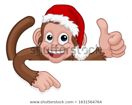 Stock photo: Monkey Cartoon Character Animal Pointing At Sign