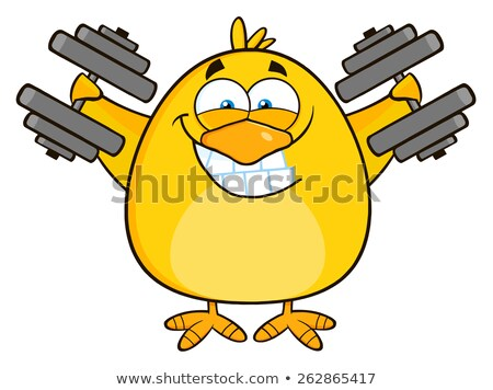 Smiling Yellow Chick Cartoon Character Training With Dumbbells Stock photo © hittoon