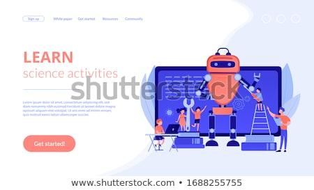 Engineering kinderen landing pagina programmering robot Stockfoto © RAStudio