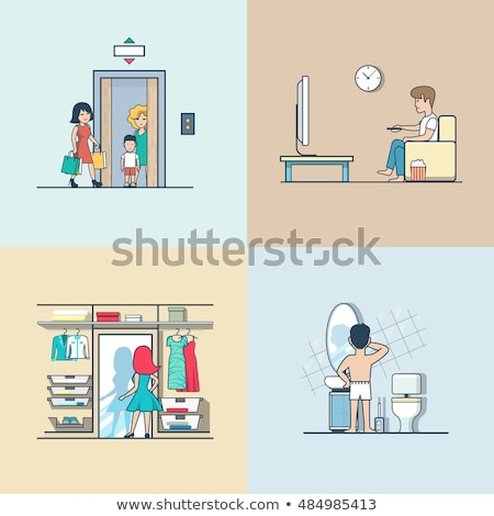 Man sits in the toilet and watches TV illustration  Stock photo © tiKkraf69