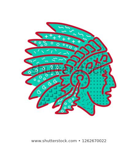 Native American Headdress Memphis Style Stock photo © patrimonio