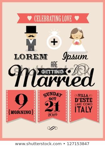 Photo stock: Marié · mariée · invitation · de · mariage · amour · vecteur · mariage