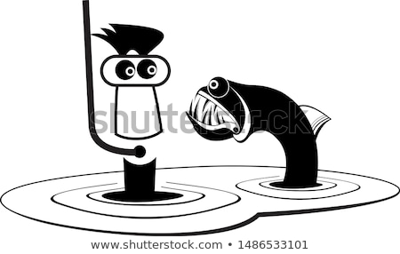 Funny diver and predator fish illustration Stock photo © tiKkraf69