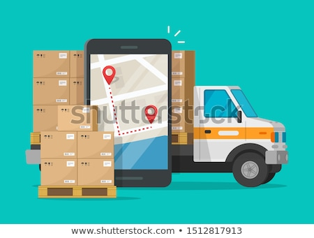 Cargo Delivery Truck and Car with Boxes Vector Stock photo © robuart