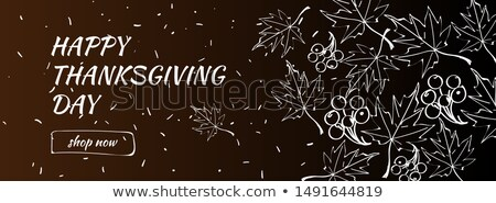 happy thanksgiving day sale banner with doodle maple leaf horizontal background vector illustratio stock photo © ikopylov