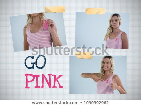 рубашки · женщину · Рак · молочной · железы · осведомленность · лента · белый - Сток-фото © wavebreak_media