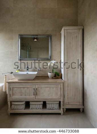Moderne zanderig bruin badkamer interieur muren Stockfoto © albund