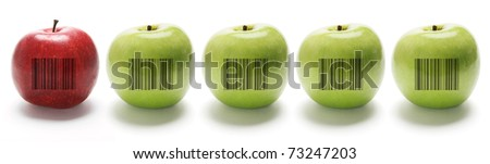Jugoso manzana código de barras etiqueta hoja verde Foto stock © adrian_n