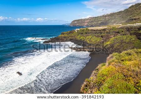 Beach el Bollullo black brown sand and aqua water Stock photo © lunamarina
