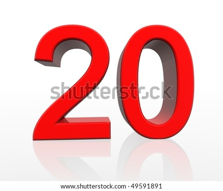 Red number 20 with reflection Stock photo © Zerbor