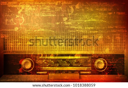 abstract grunge background with retro radio and saxophone stock photo © lem