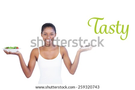 tasty against happy woman deciding to eat healthily or not stock photo © wavebreak_media