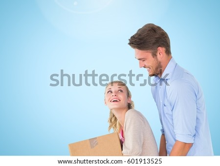 Stock photo: Happy Couple help each other against blue background