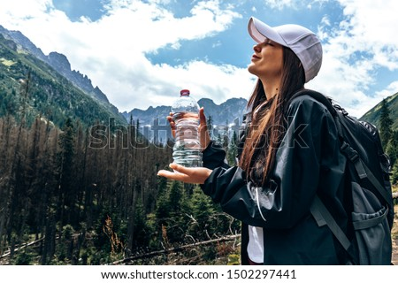 Stok fotoğraf: Spor · kadın · park · şişe · su