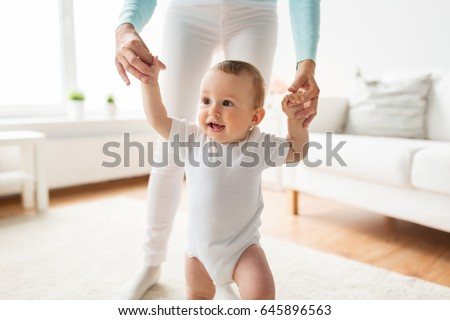 Woman Walking with Baby Son, Toddler Kid and Mom Stock photo © robuart