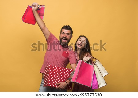 Man Stand and Hold Box and Shopping Bag, Sale Stock photo © robuart