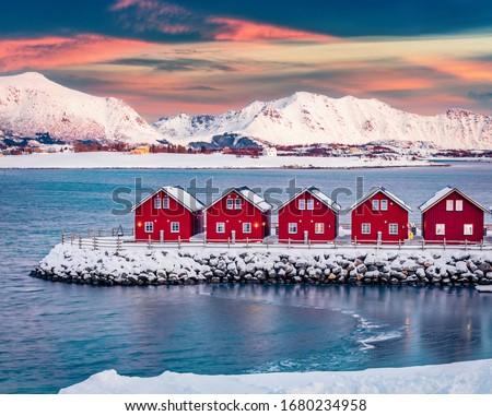 ノルウェーの 冬 日没 島々 ノルウェー 雲 ストックフォト © dmitry_rukhlenko