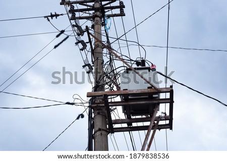 Nagyfeszültség vonalak kék ég égbolt technológia ipar Stock fotó © bbbar