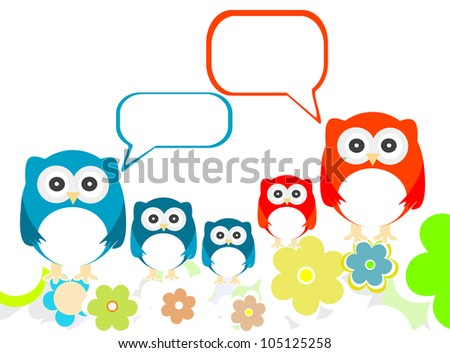 Owl Family With Flowers And Speech Bubbles Stock fotó © fotoscool