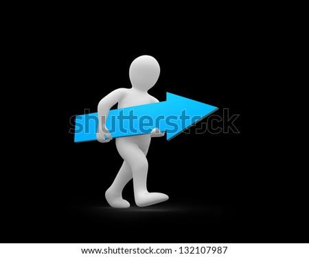 human representation walking while holding blue arrow sign stock photo © wavebreak_media