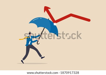 Stock photo: Man supported a red diagram