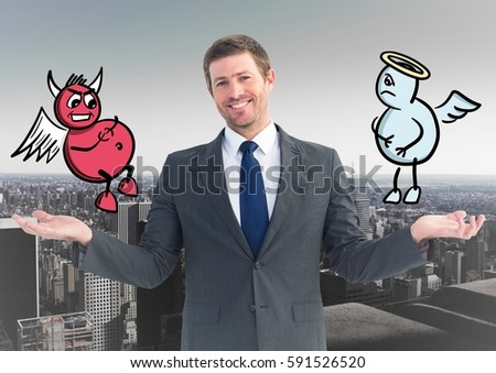 smiling businessman between good and bad conscience stock photo © wavebreak_media