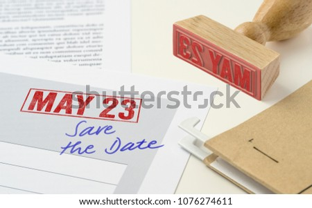 A red stamp on a document - May 23 Stock photo © Zerbor