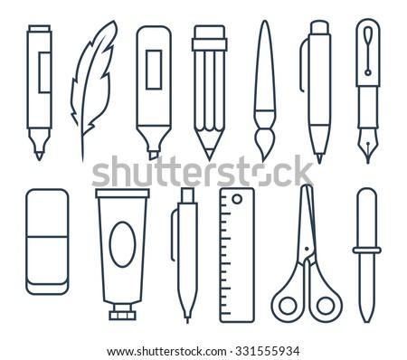vector set of ink, brush and fountain pen Stockfoto © olllikeballoon