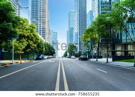 Skyline with Buildings and Car on Road City Center Stock photo © robuart