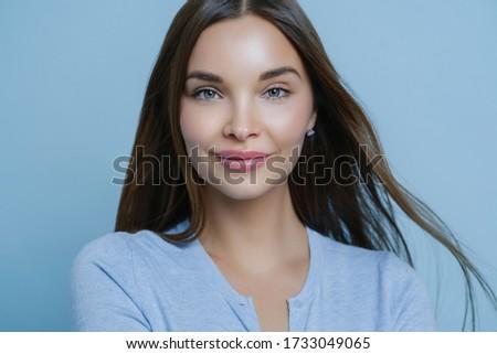 Vízszintes lövés fiatal nő egyenes sötét haj friss Stock fotó © vkstudio