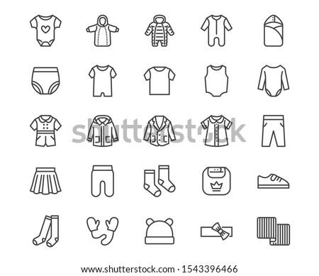 Baby Clothes Icon Set Stok fotoğraf © Nadiinko