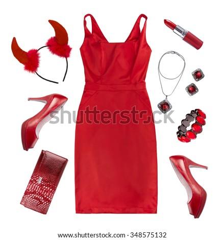 赤いドレス · 赤 · 靴 · かなり · ブロンド · ピン - ストックフォト © carlodapino