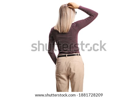 女性 立って 戻る 白 ストックフォト © Discovod