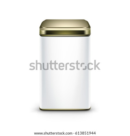 White square tin packaging Tea coffee dry products Stock photo © netkov1