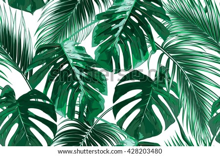 tropical palm leaves seamless stock photo © fresh_5265954