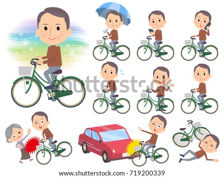 Brown high neck Middle aged men_city bicycle Stock photo © toyotoyo
