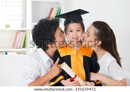 Cute Parent and child in the graduation ceremony Stock photo © Blue_daemon