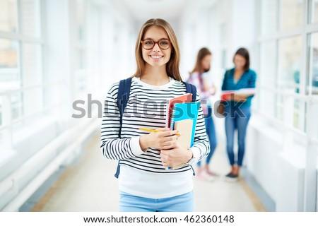 美しい 学生 小さな 笑みを浮かべて 女性 白 ストックフォト © grafvision