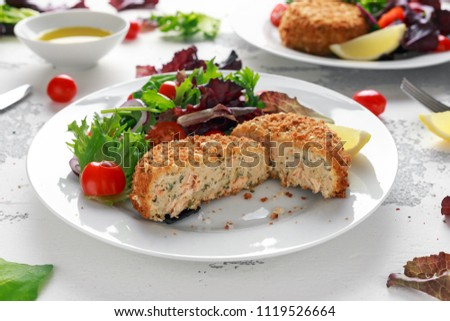 fishcakes with vegetables Stock photo © master1305