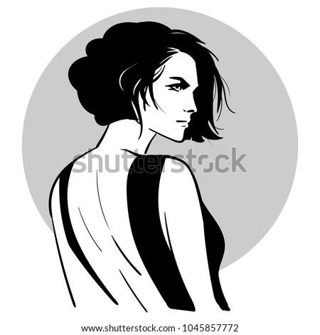 Güzel genç kadın siyah elbise açmak geri ayakta Stok fotoğraf © deandrobot