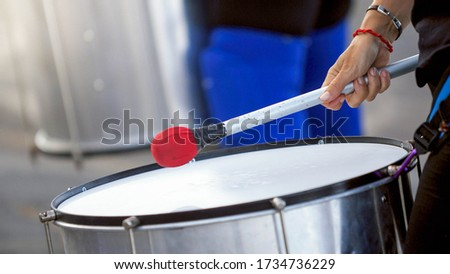 happy street musician playing drum Stock photo © LoopAll