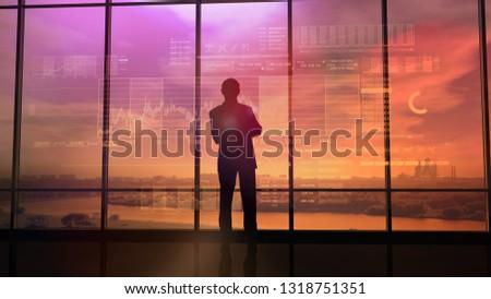 Comerciante actividad bolsa puesta de sol grande oficina Foto stock © ConceptCafe