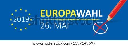 Papier banner europese verkiezingen Blauw eps Stockfoto © limbi007