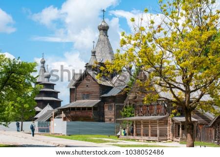 Museum houten architectuur Rusland venster russisch Stockfoto © borisb17