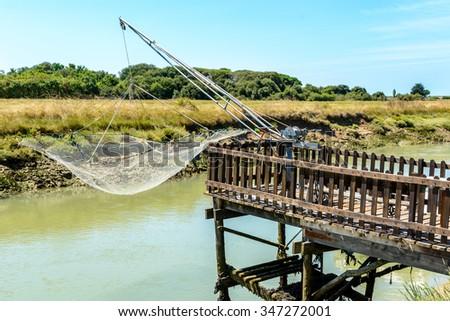 fishing net, Oleron Island, Poitou-Charentes, France Stock photo © phbcz