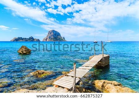 Ibiza Cala dHort d Hort view from boat in Balearic Stock photo © lunamarina