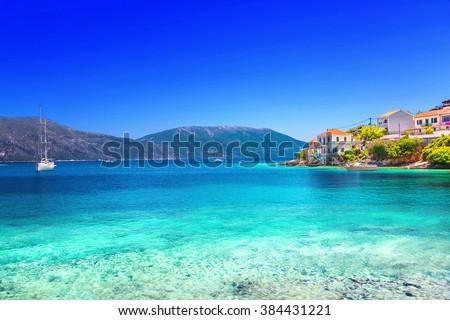 Yunanistan deniz sıcak yaz plaj gökyüzü Stok fotoğraf © jonnysek